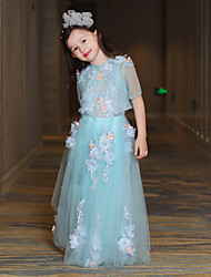 cheap -A-Line Floor Length Flower Girl Dress - Tulle Half Sleeves Jewel Neck with Pearl by QZ