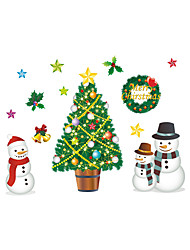 cheap -Wall Stickers Wall Decals Christmas Tree Snowman PVC Wall Stickers