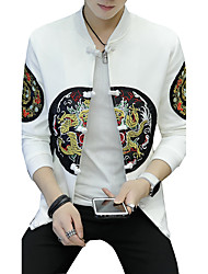 cheap -Men's Simple Casual Active Street chic Plus Size Cotton Jacket-Solid Colored Leopard,Print Embroidered Patchwork Stand