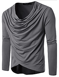 cheap -Men's Casual Cotton T-shirt - Check Round Neck