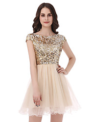cheap -Princess Scoop Neck Short / Mini Tulle Sequined Engagement Party Cocktail Party Dress with Sequins by Sarahbridal