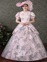 cheap -Victorian Rococo Ladies' One Piece Dress Pink Cosplay Satin Long Sleeves Floor Length