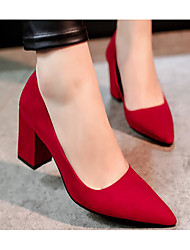 preiswerte -Damen Schuhe PU Leder Frühling Sommer Pumps High Heels für Normal Schwarz Grau Rot