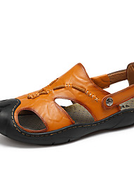 Herren Sandalen formale Schuhe Echtes Leder Sommer Herbst Normal Walking Kombination Niedriger Absatz Gelb Braun Unter 2,5 cm