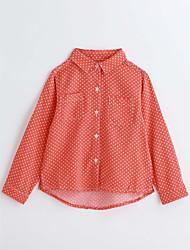 cheap -Girls' Polka Dot Shirt,Cotton Spring Fall Long Sleeve Orange