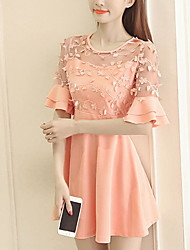 Women's Going out Cute A Line Dress,Solid Round Neck Mini Short Sleeve Polyester Summer Mid Rise Inelastic Thin