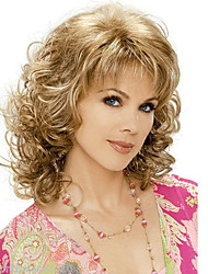 cheap -African Brown Blonde Wig Fashion Style High Temperature Wire Middle Length Curly Hair Wig