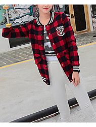 cheap -Women's Daily Modern/Contemporary Fall Jacket,Plaid/Check Round Neck Long Sleeve Regular Cotton Others