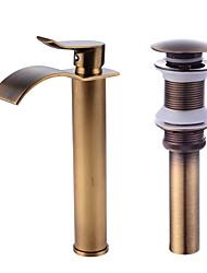 Недорогие -Смеситель - Водопад Античная медь По центру Одной ручкой одно отверстиеBath Taps