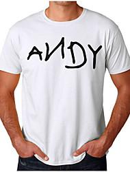 abordables -Hombre Estampado - Algodón Camiseta, Escote Redondo Un Color / Letra / Manga Corta