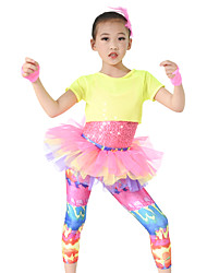 cheap -Performance Outfits Children's Performance Polyester Spandex Sequined Cascading Ruffle Short Sleeve High Leotard/Onesie Top Pants