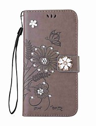 cheap -For Samsung Galaxy S8 Plus S8 Case Rhinestone Flip Embossed Pattern Butterfly PU Leather for Samsung Galaxy S7 S7 Edge S6 S6 Edge S5 S5 Mini S4 S4mini