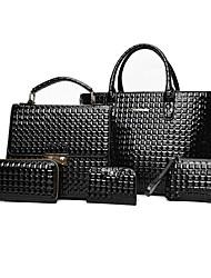 preiswerte -Damen Taschen PU Bag Set Reißverschluss für Normal Ganzjährig Blau Schwarz Rote Grau Braun