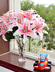 1 Branch Plastic Lilies Tabletop Flower Artificial Living Room Decoration Flowers 9 Head 27 Leaves