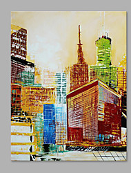 IARTS® Modern Abstract Oil Painting Modern City Architecture Landscape Picture with Stretched Frame Handmade Oil Painting For Home Decoration