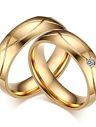 cheap -Couple's Couple Rings Rhinestone Gold Cubic Zirconia Titanium Steel Round Classic Elegant Simple Style Wedding Party Anniversary