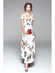 cheap -Women's Daily Going out Cute Sexy Chiffon Swing Dress,Floral V Neck Maxi Short Sleeves Polyester Spring Summer High Rise Micro-elastic
