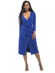 cheap -Women's Plus Size Going out Sheath Dress - Solid Colored Split Deep V