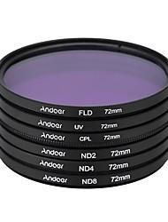 Andoer 72 millimetri uv cpl fld nd (nd2 nd4 nd8) kit filtro fotografico set ultravioletto circolare-polarizzante fluorescente neutro