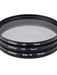 Andoer 72mm Filter Set UV  CPL  Star 8-Point Filter Kit with Case for Canon Nikon Sony DSLR Camera Lens