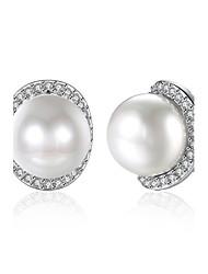 economico -Per donna Orecchini a bottone Cristallo Zircone cubico Perle finte Zirconi Classico Originale Pendente Cuore Natura Geometrico Amicizia