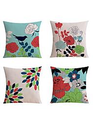 cheap -4 pcs Linen Pillow case Sofa Cushion Travel Pillow Body Pillow Bed Pillow Pillow Cover, Art Deco Floral Print Pattern Rustic