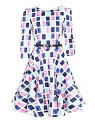 Недорогие -Жен. Большие размеры Офис А-силуэт С летящей юбкой Платье - Цветочный принт, Старинный С высокой талией
