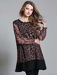 Damen Lose Chiffon Kleid-Ausgehen Lässig/Alltäglich Sexy Leopard Rundhalsausschnitt Übers Knie Langarm Polyester Herbst Hohe Hüfthöhe