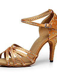 "Women's Latin PU Heels Indoor Buckle Crystals/Rhinestones Black Brown 2"" - 2 3/4"" 3"" - 3 3/4"" Customizable"