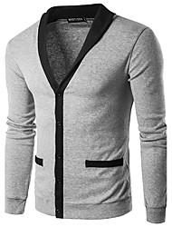 Standard Cardigan Da uomo-Casual Ufficio Vintage Semplice A strisce Monocolore A V Manica lunga Cotone Rayon Autunno Inverno Sottile