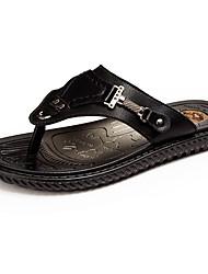 preiswerte -Herrn Schuhe PU Sommer Leuchtende Sohlen Slippers & Flip-Flops Wasser-Schuhe für Normal Schwarz Braun