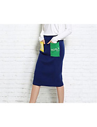 Women's Casual/Daily Knee-length Skirts Bodycon Solid Fall