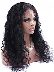 cheap -Human Hair Lace Wig Water Wave Lace Front Glueless Lace Front 100% Hand Tied African American Wig Natural Hairline 130% Density Black