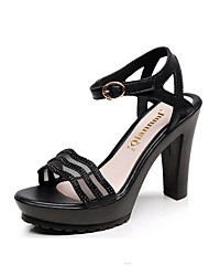 cheap -Women's Shoes Leather Spring / Summer Basic Pump Heels Stiletto Heel Peep Toe Buckle for Office & Career / Party & Evening Gold / Black
