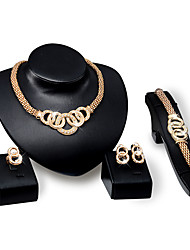 cheap -Women's Rhinestone Rhinestone / Gold Plated Luxury Others Jewelry Set - Personalized / Luxury / Vintage Round Gold Jewelry Set For Party