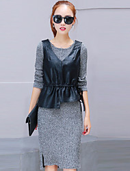 Women's Daily Casual Street chic Shift Sweater Dress,Solid Round Neck Knee-length Long Sleeves Polyester Winter Fall Mid Rise Stretchy