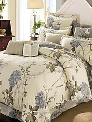 cheap -Floral/Botanical 4 Piece Cotton Cotton 1pc Duvet Cover 2pcs Shams 1pc Flat Sheet