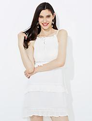 preiswerte -Damen Hülle Kleid-Ausgehen Lässig/Alltäglich Einfach Street Schick Solide Gurt Knielang Ärmellos Kunst-Pelz Baumwolle Acryl Polyester