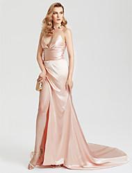 Tubinho Cauda Corte Cetim Evento Formal Vestido com Fenda Frontal Franzido de TS Couture®