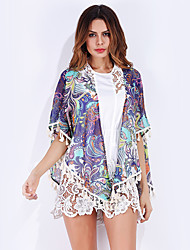 Women's Beach Casual/Daily Vintage Street chic Summer Blouse,Print Shawl Lapel Half Sleeve Chiffon Thin