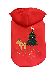 cheap -Dog Hoodie Dog Clothes Reindeer Red Cotton Down Costume For Pets Christmas