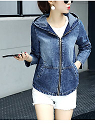 Women's Daily Modern/Comtemporary Spring Denim Jacket,Print Hooded Long Sleeve Short Cotton Others
