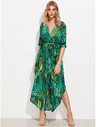 Women's Going out Boho Swing Dress,Print Shirt Collar Asymmetrical Long Sleeve Polyester Summer Fall High Rise Inelastic Thin