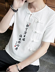 Men's Going out Casual/Daily Simple Summer T-shirt,Solid V Neck Short Sleeves Linen Others