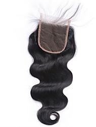 1 peça livre parte 4x4 corpo brasileiro onda renda laço fechamento cabelo cheio virgem remy cabelo branqueado nó top fechamentos