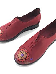 Women's Loafers & Slip-Ons Comfort Light Soles Spring Fall Microfibre Walking Shoes Casual Outdoor Flower Flat Heel Black Dark Red 1in-1