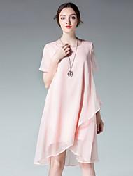 JIANRUYI Women's Casual/Daily Cute Loose Chiffon DressSolid Round Neck Asymmetrical Short Sleeve Chiffon Summer High Rise Inelastic Thin