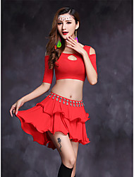 Belly Dance Outfits Women's Performance Modal 2 Pieces Half Sleeve Natural Top / Skirts