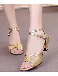 cheap -Women's Latin Paillette Patent Leather Heel Practice Gold Black Silver