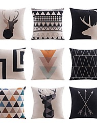 9 pcs Linen Pillow case Bed Pillow Body Pillow Travel Pillow Sofa Cushion Pillow Cover,Grid/Plaid Patterns Geometric Pattern Wildlife